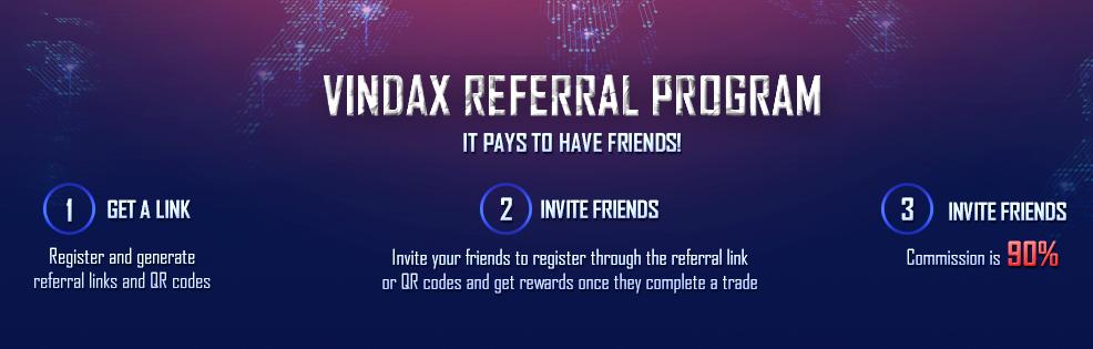 VinDAX Referral ID is giving 90% Rebate on signup 1 vindax referral id